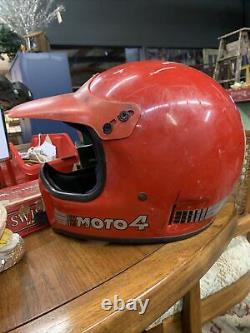 Vintage BELL MOTO 4 MOTO CROSS Racing HELMET 7 1/4 Red Used Force Flow
