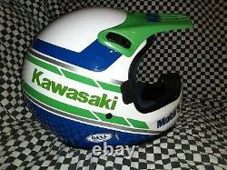 Vintage BELL MOTO 5 MOTO CROSS HELMET 7 1/2 Kawasaki VGC WITH VISOR 85