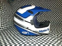Vintage BELL MOTO 5 MOTO CROSS HELMET 7 3/8 snell 85 VGC WITH VISOR