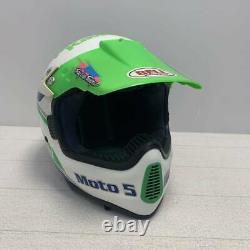 Vintage BELL MOTO-5 Motocross Helmet Kawasaki Troy Lee Visor Size 7 3/8 Large
