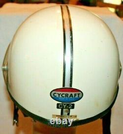 Vintage BIKER or MOTO-CROSS CYCRAFT CY-2 MOTORCYCLE HALF HELMETBuco Size Medium
