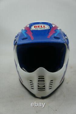 Vintage Bell Helmet Dot Moto Motocross Full Face Helmet Blue White