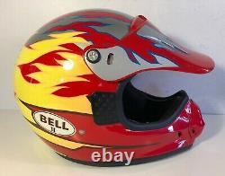 Vintage Bell II Motto Red W Flames Helmet Motorcycle Motocross Sz S E79 Dot
