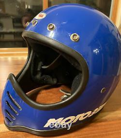 Vintage Bell Moto 3 Helmet Blue