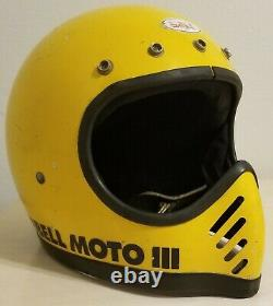 Vintage Bell Moto 3 Star Bell lll Helmet Motocross Size 7 1/2 Motorcycle