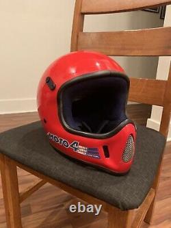 Vintage Bell Moto 4 Motorcycle Helmet MX AHRMA Red Blue 80s Size 7 3/8