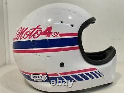 Vintage Bell Moto 4 SL Motocross Helmet White & Pink 1990