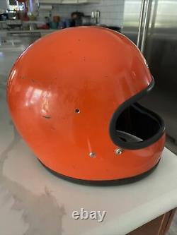 Vintage Bell Star 1970s Orange Motorcycle Motocross Helmet 7 5/8 Used, Solid