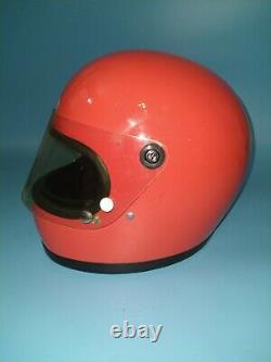 Vintage Bell Star Orange Motorcycle Motocross Helmet 7 1/4