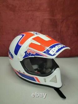 Vintage Bieffe Motocross Dirt Bike Helmet Jeff Leisk With Visor Small 56