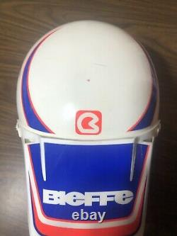 Vintage Bieffe Motocross Dirt Bike Helmet White Blue