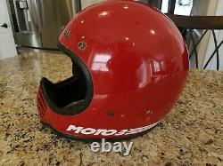 Vintage Bmx 1980 Bell Snell Moto3 Red Motorcycle Helmet 7-5/8 Moto 3 Motocross