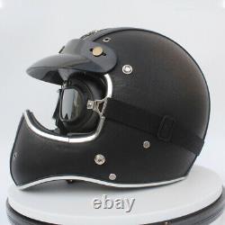 Vintage Full Face Motorcycle Helmet Deluxe Leather Motocross Street Bike Helmet