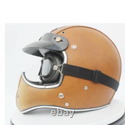 Vintage Full Face Motorcycle Helmet Deluxe Leather Street Bike Motocross Helmet