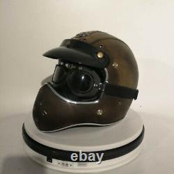 Vintage Full Face Motorcycle Helmet withGoggles PU Leather Motocross Racing Helmet