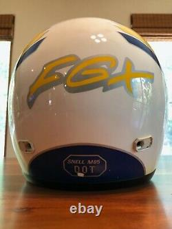 Vintage HJC Motocross Helmet FGX Blue white and yellow size XL