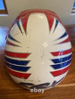 Vintage HJC Motocross Helmet Size Medium Red White And Blue