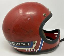 Vintage Maxon Moto Full Face Motorcycle Motocross Helmet Red XL Extra Large