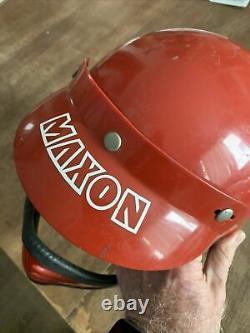 Vintage Maxon Moto Full Face Motorcycle Motocross Helmet Visor Red Universal