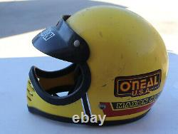 Vintage Maxon Moto Full Face Motorcycle Motocross Helmet Visor Yellow Universal