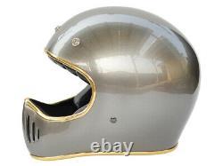 Vintage Motocross Helmet Motorcycle Helmet Retro Off-Road withBubble Visor Gray