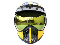Vintage Motocross Motorcycle Helmet Off-Road withBubble Visor Yellow / Black Line