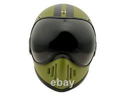 Vintage Motocross Motorcycle Off-Road Helmet With Visor Matte Green/Black Line