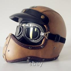 Vintage Motorcycle Helmet Full Face Deluxe Leather Motocross Racing S/M/L/XL/XXL