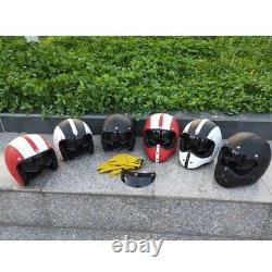 Vintage Motorcycle Motocross Helmet Full Face withSun Visor Deluxe PU Leather M