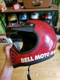 Vintage ORiGiNAL USA BELL STaR MINI MOTO 3 Motocross Full Face Kid HELMET w
