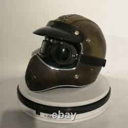 Vintage PU Leather Motorcycle Helmet Full Face withGoggles Cruiser Motocross L