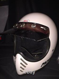 Vintage RARE Bell Moto 3 Motocross Motorcycle Helmet USA White Sz 71/2
