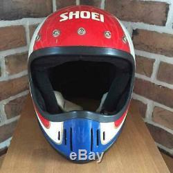 Vintage SHOEI Motocross Helmet EX-2 Inner Repaired Tricolor Used Japan