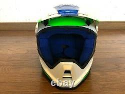 Vintage SHOEI Motocross Helmet VX-COUGAR White/Green/Blue NOS Size L