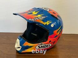 Vintage SHOEI VF-X-TROYMAX Motocross Helmet Size M Blue Troy Lee Designs