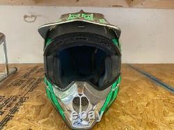 Vintage SHOEI VFX-R Motocross Helmet Silver/Green Size-L Troy Lee Designs