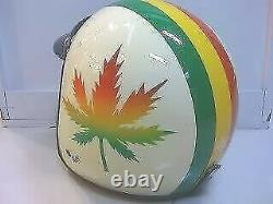 Vintage Scooter Motor Ivory Rasta Cannabis Open Face Helmet NEW