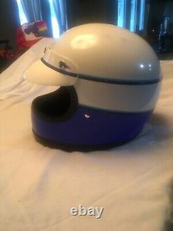 Vintage Shoei Hondaline Blue White Striped Motocross ATC Dirtbike Helmet Honda