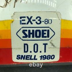 Vintage Shoei Supra-X EX-3-80 Moto Cross Helmet Size Large L Red White Orange