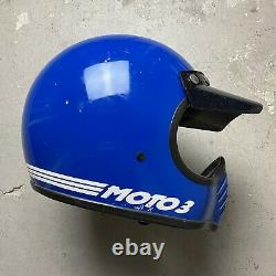 Vintage Snell 1980 Bell Moto 3 Motocross Motorcycle Racing Helmet Blue 7 1/2
