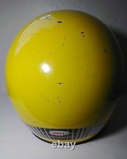 Vintage Yellow BELL MOTO 4 MOTO CROSS HELMET 7 1/8 WITH Troy Lee Designs VISOR