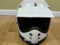 Vintage unknown Motocross ATV Helmet Red White Blue stripe w /Venter Visor sz M