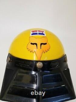 Vintage unknown Motocross ATV Helmet Yellow Venter Visor sz M