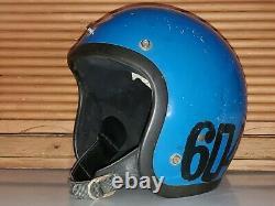 Vtg 1976 Bell R-t Toptex Motocross Team Dg Racing Open Face Motorcycle Helmet M