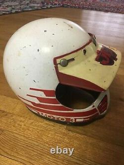 Vtg 70s 80s Bell Moto Star 3 Motocross Racing Helm Größe 7-1/4 58cm JT Sticker