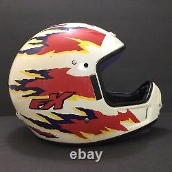 Vtg Fulmer FX Dot Off-Road Motocross Helmet White Red Purple Yellow Excellent