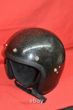 Vtg J1-MF Motorcycle Helmet Open Face Black Silver Metal Flake A. M. A Motocross