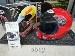 Vtg MOTO-4 BELL Motocross Bike Helmet & Goggles with BOX / Paper CLEAN Sz 7 3/8