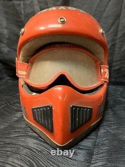 Vtg Red Maxon Ram Air BMX Dirt Bike Motocross Helmet Sz Large Scott Goggles