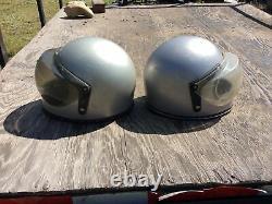Vtg Retro 70s 80s Grant Motorcycle 2 Helmet Lot Full Face Bubble Motocross Small
